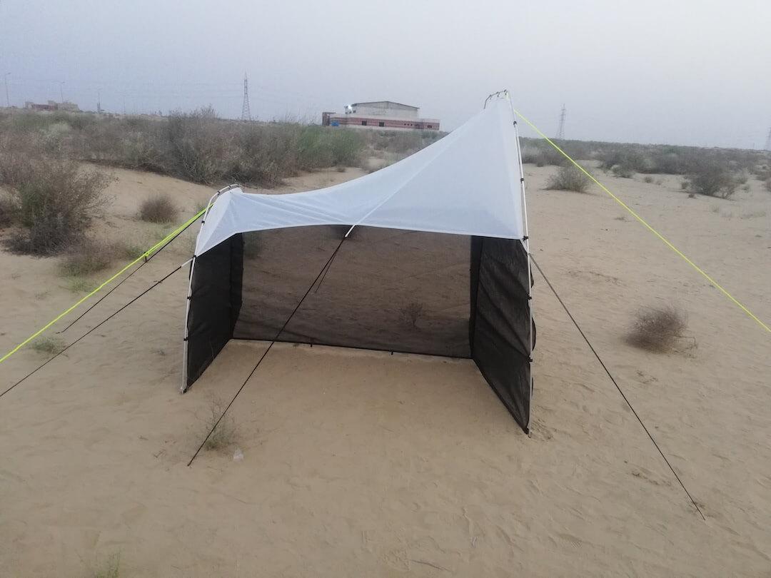Malaise trap in the Cholistan Desert, Pakistan. PHOTO CREDIT: Santosh Kumar
