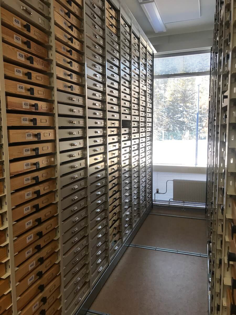 An aisle of invertebrate specimens at the University of Oulu Zoological Museum