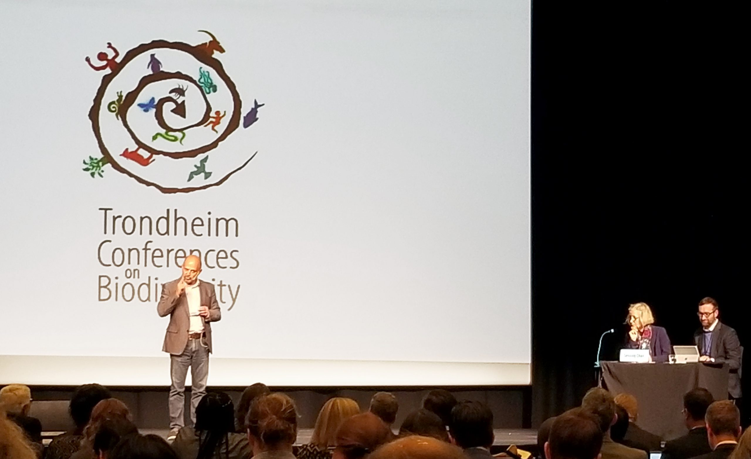 Carlos Manuel Rodríguez speaks at the Trondheim Conference on Biodiversity (July, 2019).