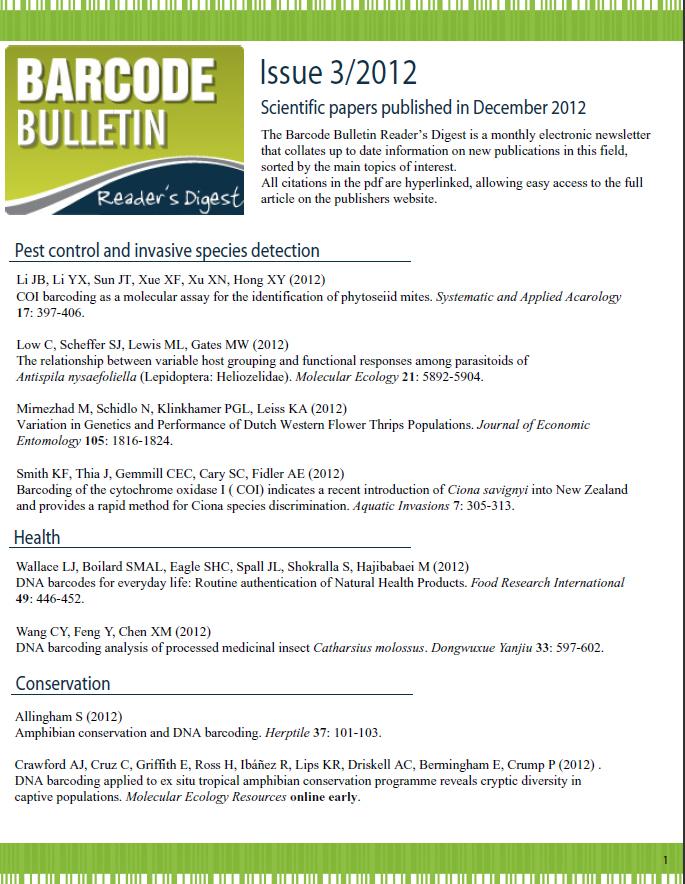 Barcode Bulletin - December 2012